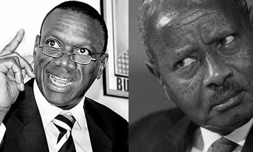 Besigye (left) and Museveni (right)